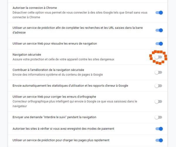 Modifier les autorisations sur google Chrome