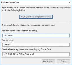 clé de licence CopperCube